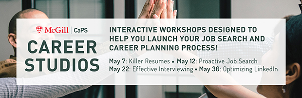 Banner for Career Studios, interactive workshops designed to help you launch your job search and career planning processes