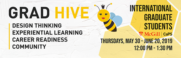 Banner for Grad Hive, design thinking, experiential learning, career readiness, community