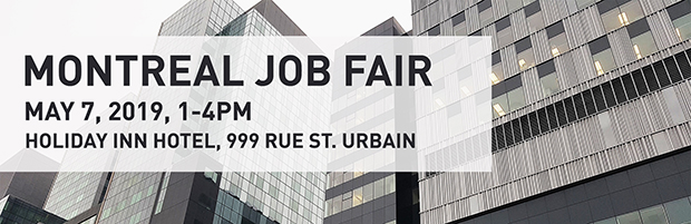 Banner for Montreal Job Fair on May 7, 2019, from 1 to 4 pm at the Holiday Inn Hotel, 999 Saint Urbain