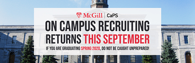 Banner: On Campus Recruiting returns this September. If you're graduating in Spring 2020, do not be caught unprepared!