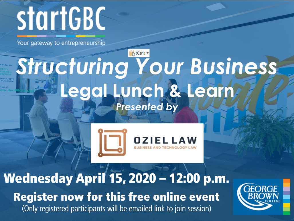 startGBC and Oziel Law Structuring Your Business Legal Lunch & Learn