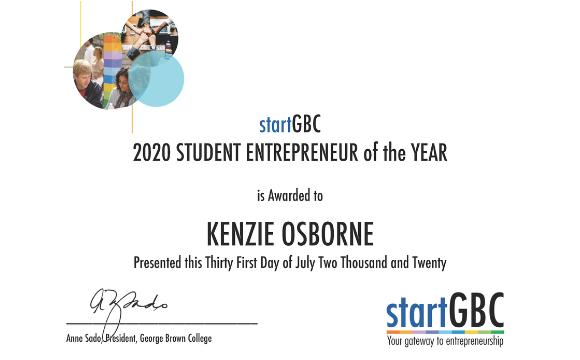 Kenzie Osborne 2020 Student Entrepreneur of the Year Award