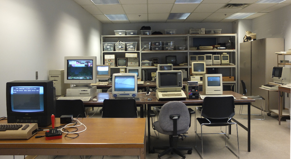 Obsolete Computing and Media Lab with old computers in a room