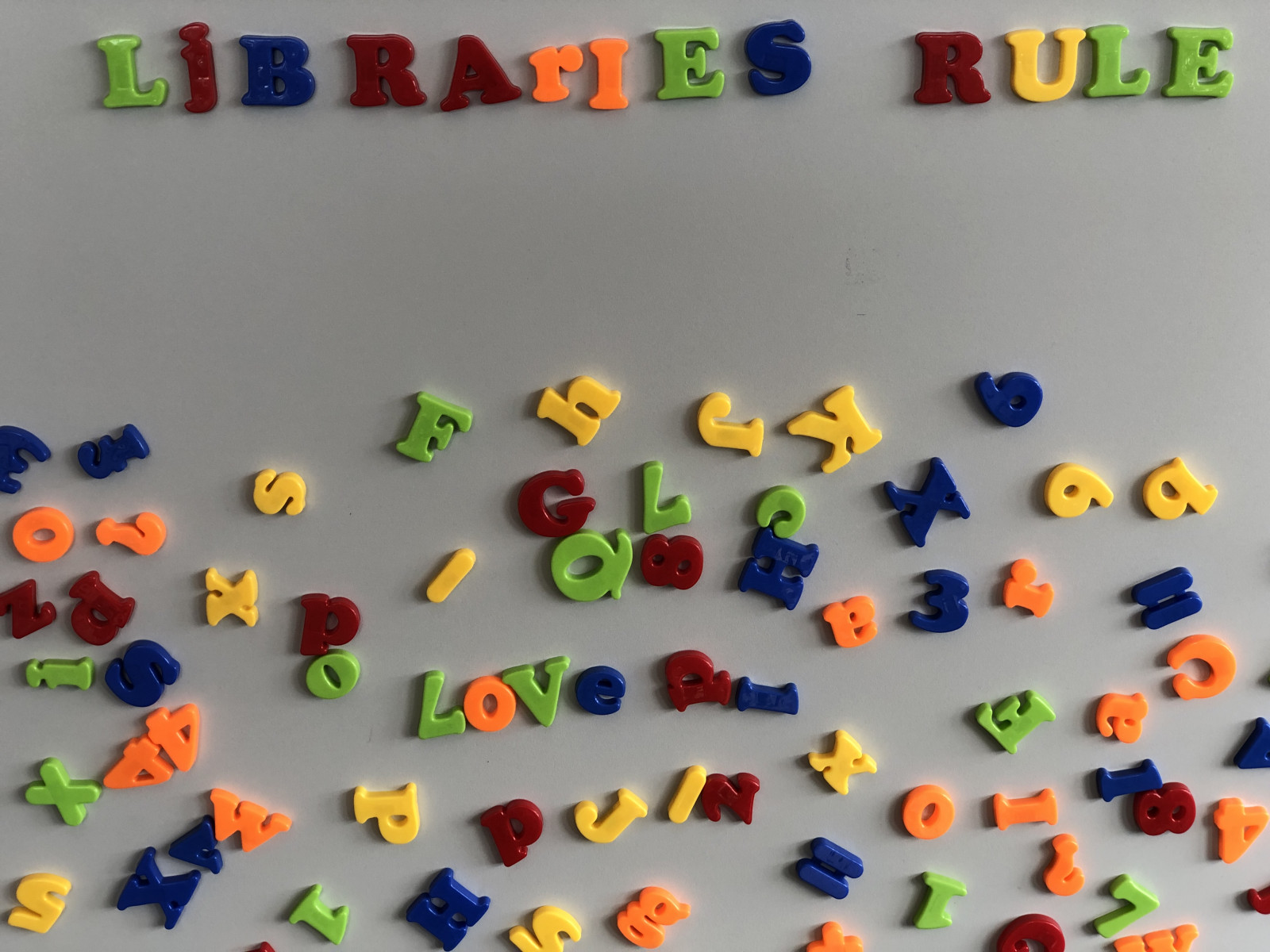 Letters spelling out Libraries Rule