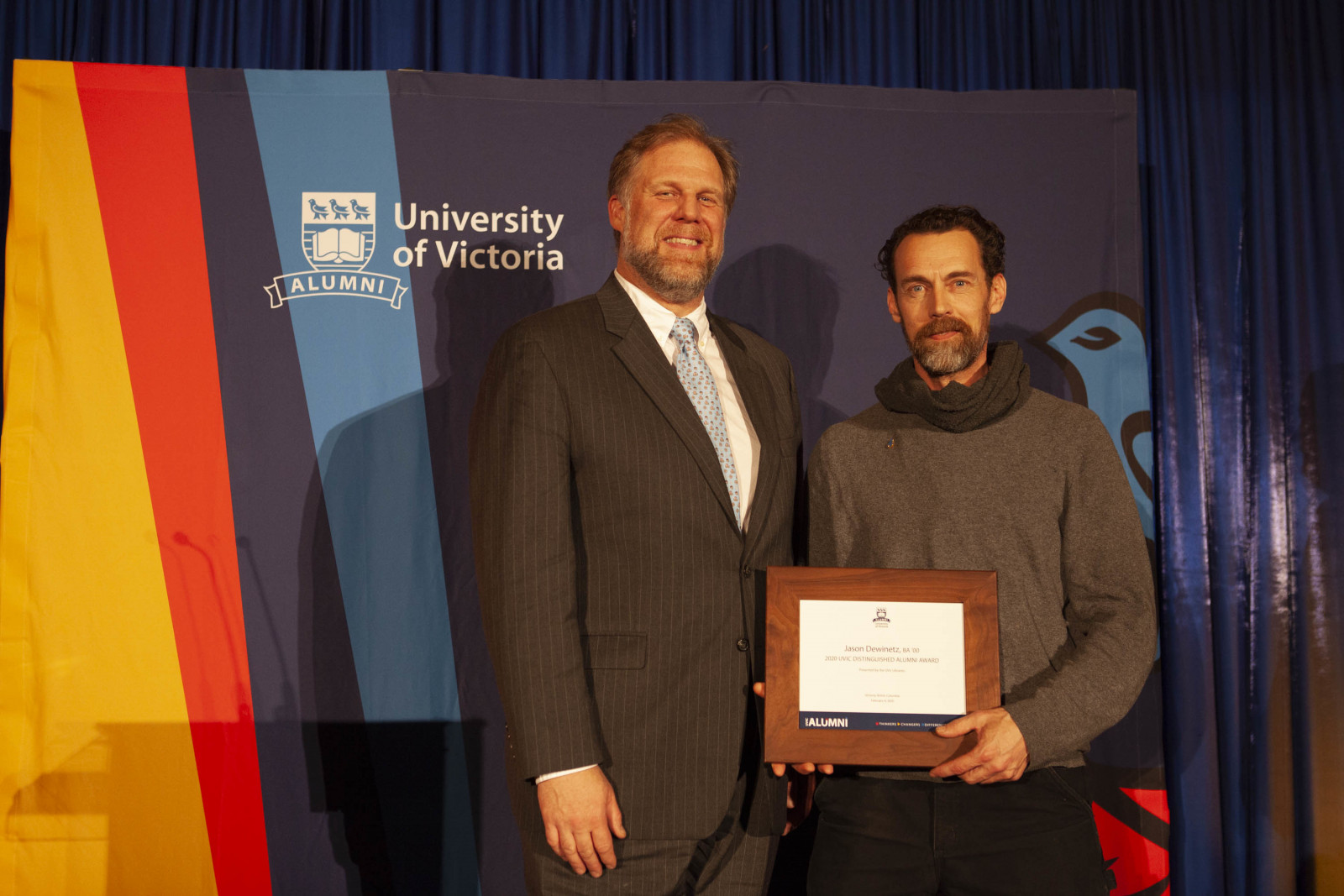 Distinuished Alumni Award recipient Jason Dewinetz with University Librarian Jonathan Bengtson