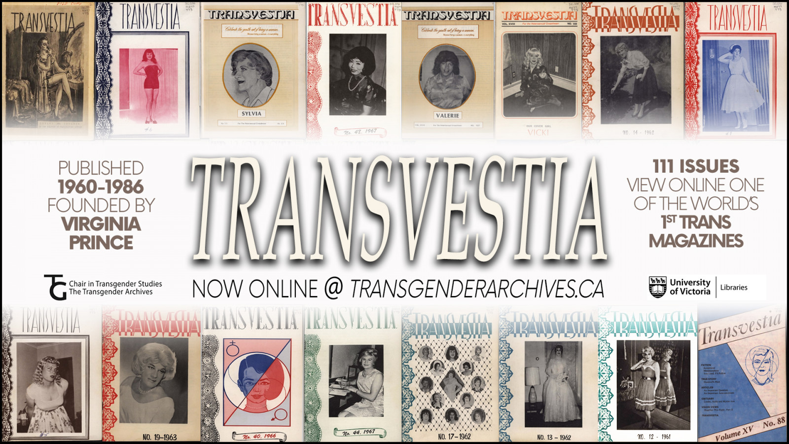 Photo montage of Transvestia magazine covers