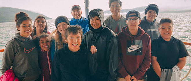 Salmon science camp participants from the Nisga'a village of Gingolx