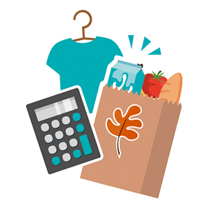 A t-shirt, a calculator, and a paper bag of groceries