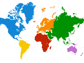 World map with each continent in a different color